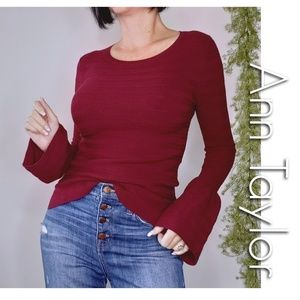 Ann Taylor bell sleeve ribbed sweater